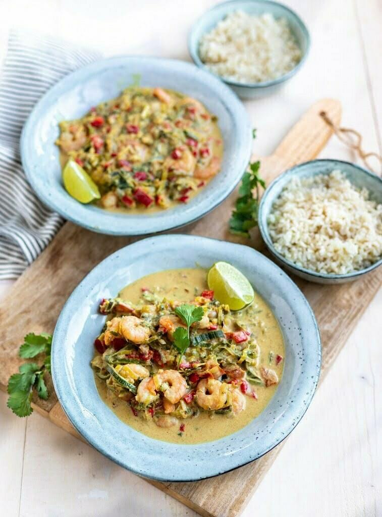 Thaise curry garnalen met kokos 3